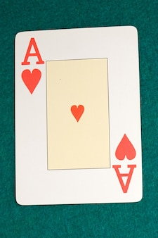 Macro of the letter from the ace of hearts