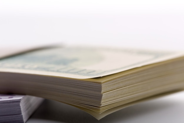 Macro of packs of dollars and euros