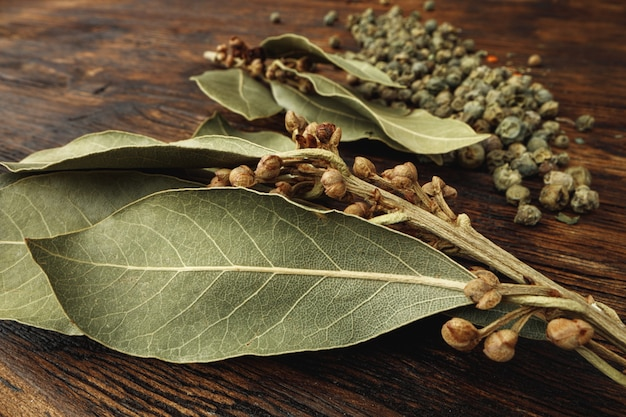 Macro photo of bay leaf spice on table