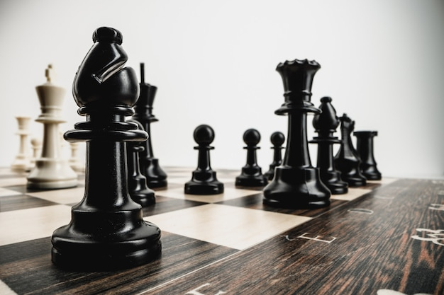 Macro photo of chess pieces on a chess board