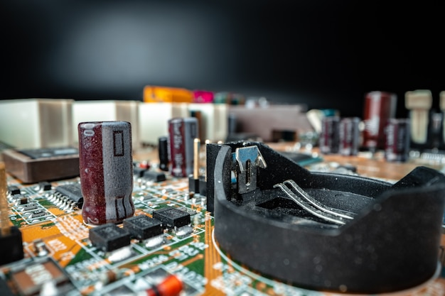 Macro photo of electronic components of a computer circuit board
