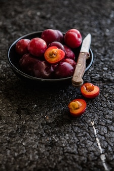 Macro photo food fruit plums. texture background of fresh plums.