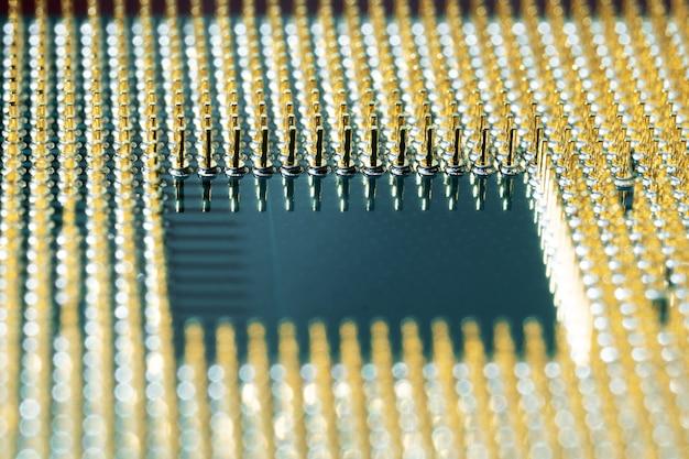 최신 cpu 주 컴퓨터 프로세서의 매크로 사진 각도 보기