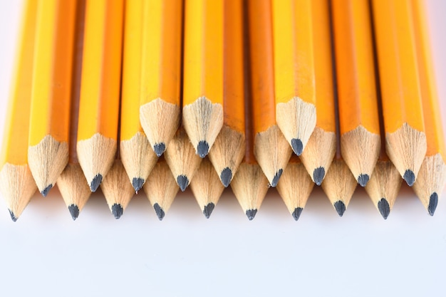 Macro photo of pencils in white table