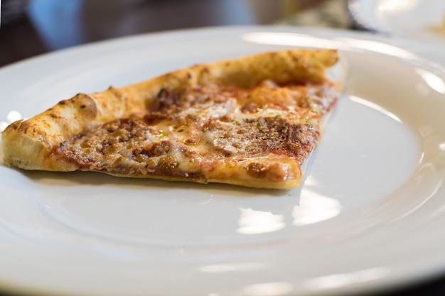 Macro photo of pepperoni pizza