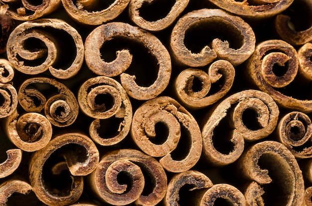 Macro photography of the cinnamon sticks. abstract background
