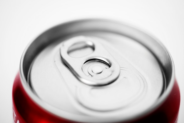Macro shot of beverage can