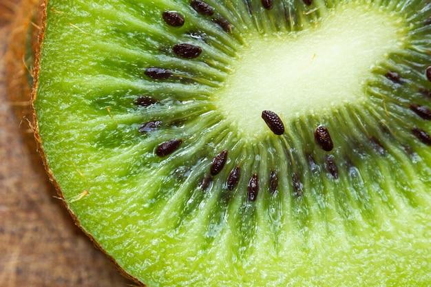Macro shot of a fresh kiwi fruit