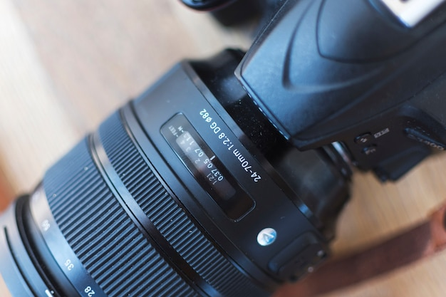 Macro shot of modern digital dslr camera
