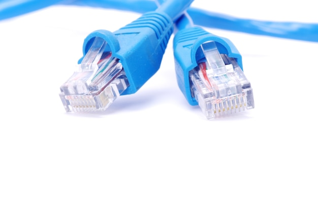 Macro shot of network connection plug