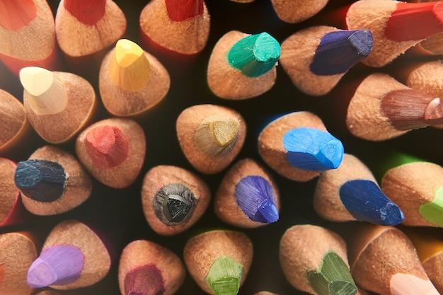 色鉛筆の背景のマクロ撮影