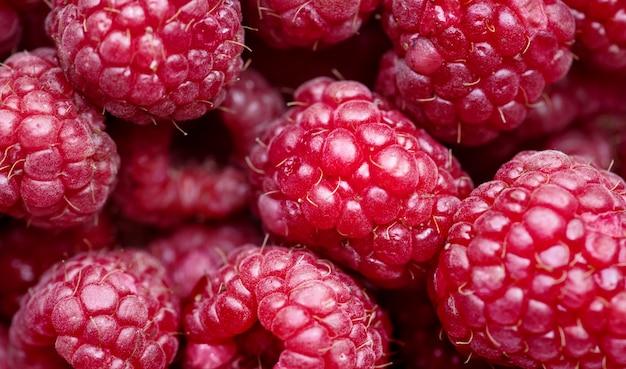 Macro shot of red raspberry background