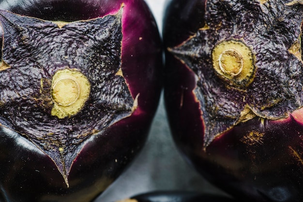 Macro shot of two aubergines