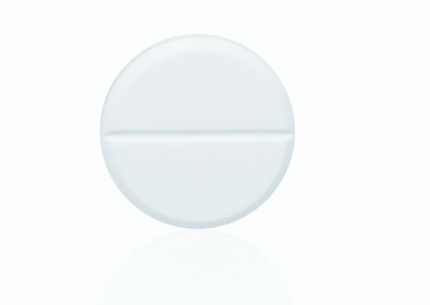 Macro shot of white chewable tablets pill