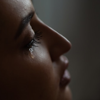 Macro tears eye lashes.