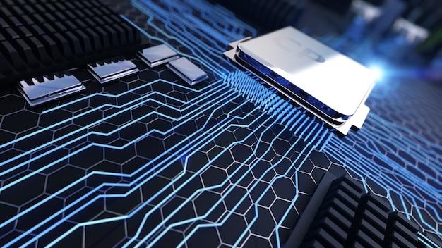 Макро-просмотр центрального процессора на материнской плате
