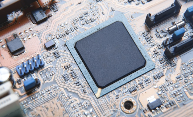 Macro view. cpu on computer motherboard