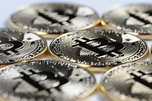 Macro view of shiny bitcoin souvenire coins