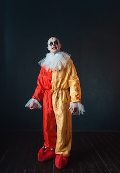 Mad bloody clown with makeup in carnival costume, crazy maniac, scary monster