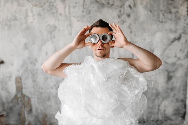 Mad freak man weared in swimming goggles