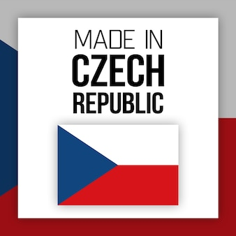 Made in czech republic label, illustration with national flag