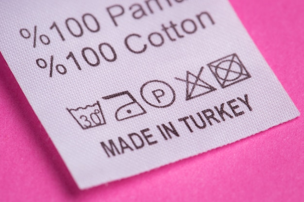 Made in turkey, the inscription on a tag