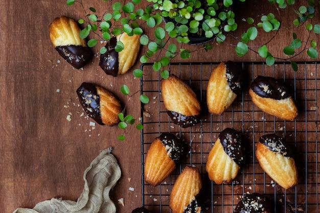 チョコレートのアイシングとココナッツのパン粉のマドレーヌスポンジクッキー