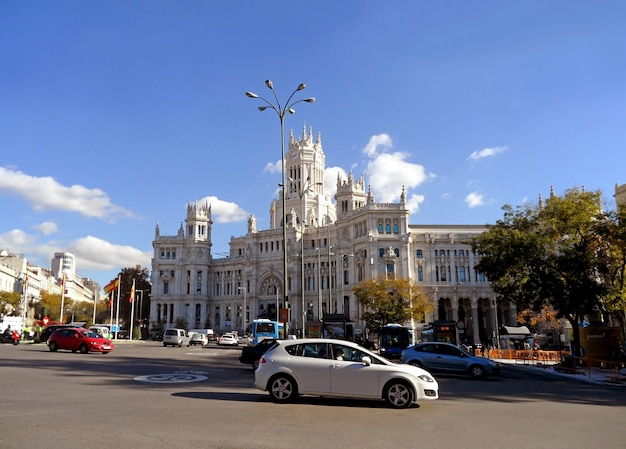 Madrid city hall or cybele palace, outstanding building on the cibeles square of madrid, spain