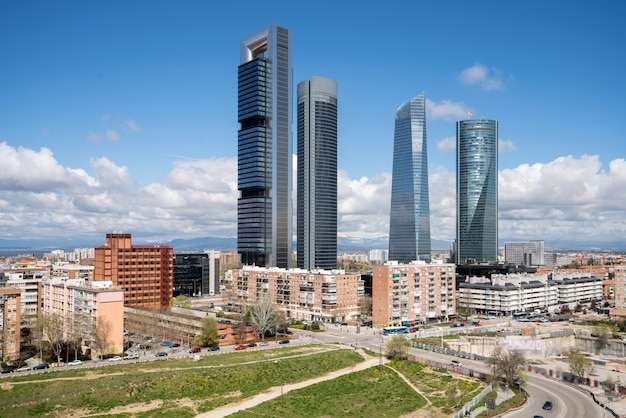 Madrid cityscape at daytime. landscape of madrid business building at four tower.