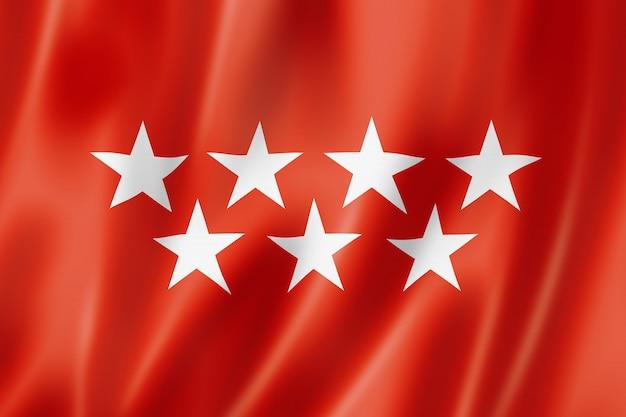 Madrid province flag, spain waving banner collection. 3d illustration