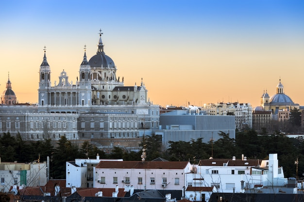 Madrid skyline with almudena church in spain