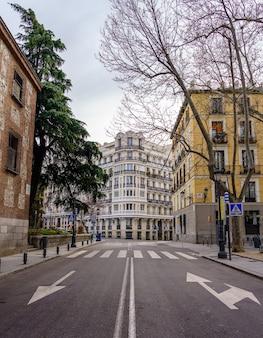 さまざまな色の新古典主義の建物と典型的なバルコニーがあるマドリード通り。スペイン。