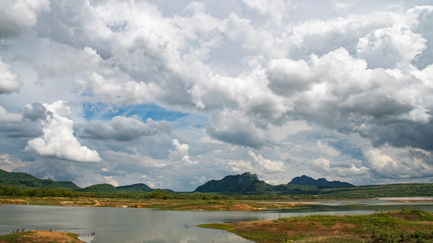 Mae kham reservoir with views on a day with beautiful rain clouds during the rainy season. lampang thailand.
