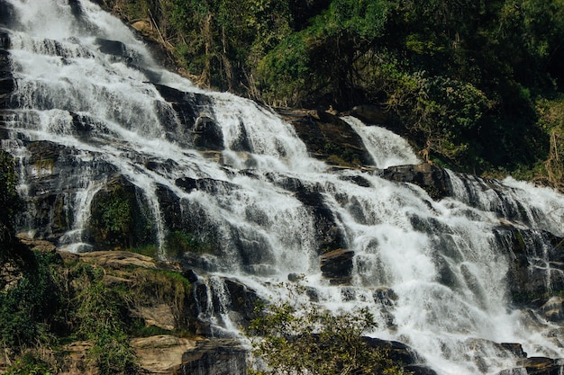 Mae ya waterfall is beautiful of doi-inthanon at chiang mai province in thailand