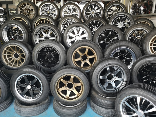 Mag wheel for car shown in car store. magnesium alloy wheel. car accessories.