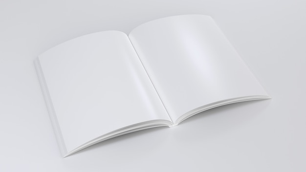 Magazine clear mockup open notepad sketchpad empty template blank paper note perspective view