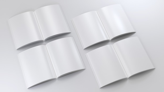 Magazine clear mockup set sketchpad empty template blank paper note clear journal model