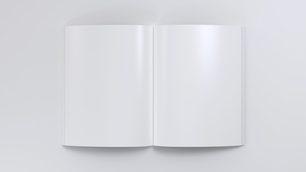 Magazine clear spread mockup notepad sketchpad empty template blank paper note journal top view