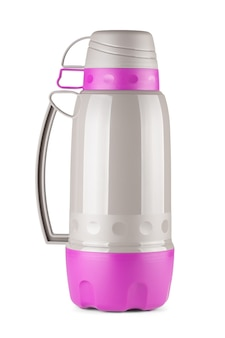 Magenta and grey plastic thermos flask with cups on top on a white background
