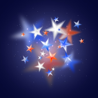 白赤と青のぼやけた星と魔法の抽象的な背景