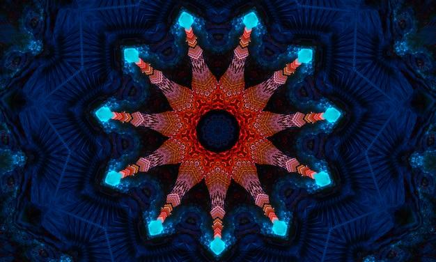 타로, 점성술, 마술에 대한 마법의 배경. 우주의 장치, 초승달과 파란색 배경에 얼굴이 있는 태양. 마법의 만화경.