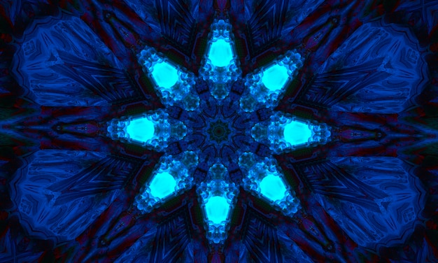 Magic background for tarot, astrology, magic. the device of the universe, crescent moon and sun with a face on a blue background. magic kaleidoscope.