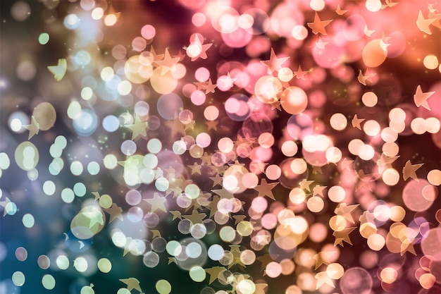 Волшебный фон с цветом праздничный фон с естественным боке и яркими золотыми огнями. старинный магический фон