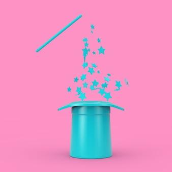 마법의 개념입니다. 분홍색 배경에 이중톤 스타일의 분홍색 반짝임이 있는 파란색 마술 모자와 지팡이. 3d 렌더링