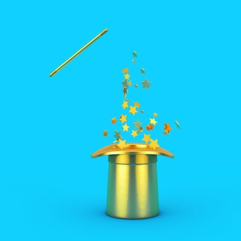 마법의 개념입니다. 파란색 배경에 금색 반짝임이 있는 황금 마술 모자와 지팡이. 3d 렌더링