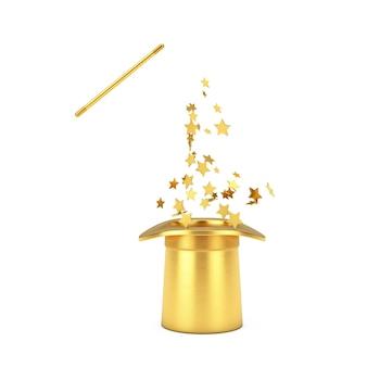마법의 개념입니다. 흰색 바탕에 금색 반짝임이 있는 황금 마술 모자와 지팡이. 3d 렌더링