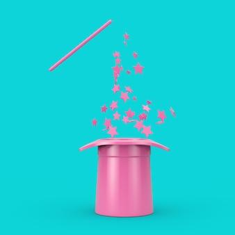마법의 개념입니다. 파란색 배경에 이중톤 스타일의 분홍색 반짝임이 있는 분홍색 마술 모자와 지팡이. 3d 렌더링