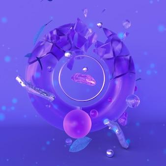 마법의 크리스탈 보라색 추상 유리 3d 그림 3d 렌더링