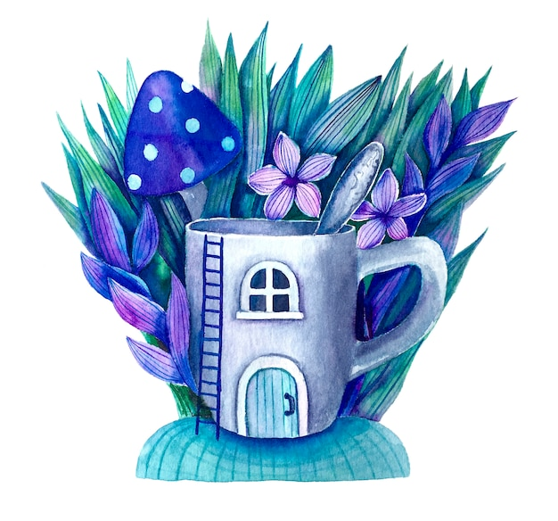 Волшебная чашка с ложкой и растениями милая акварель иллюстрация