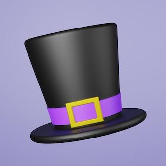 Волшебная шляпа-цилиндр с голубой лентой и золотой наклейкой 3d-рендеринга